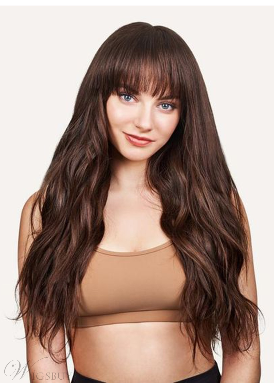 Women's Long Layered Straight Human Hair Wigs With Bangs Capless Wigs 26Inch