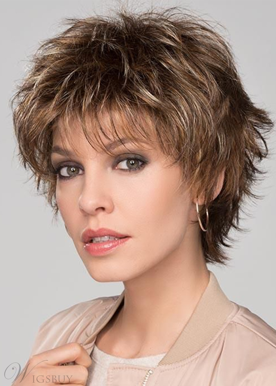 Women's Short Layered Choppy Hairstyle Straight Synthetic Hair Basic Capless Wigs 10Inch