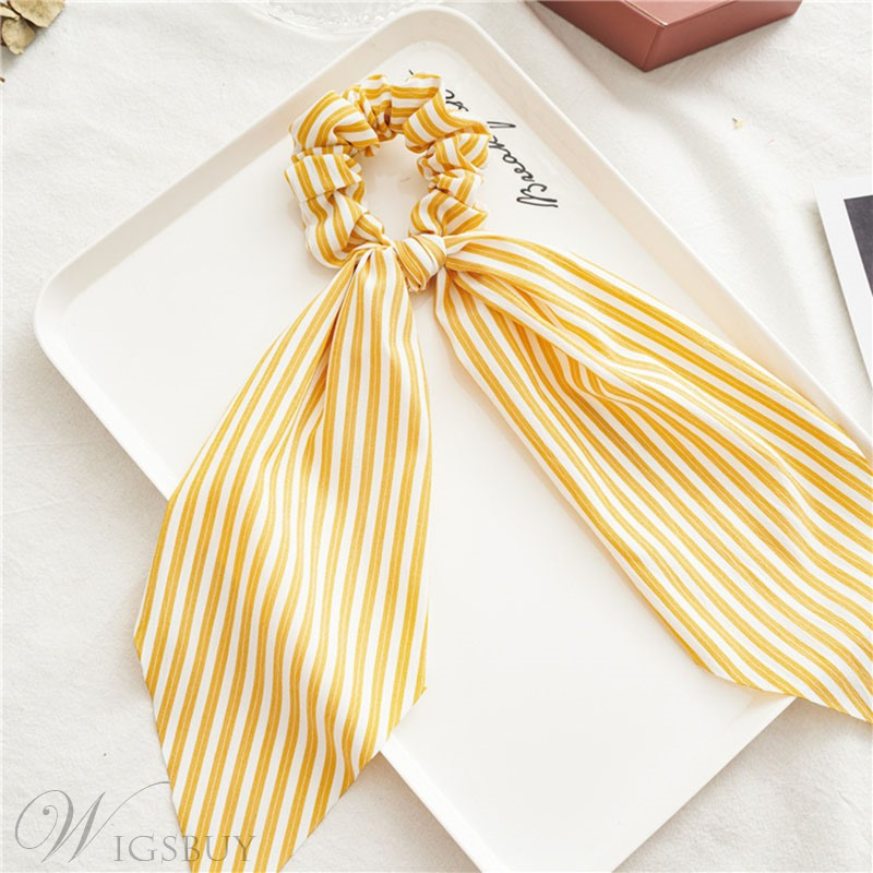 Women's Stripe Pattern Cloth Material Hair Rope For Brithday Party Gift