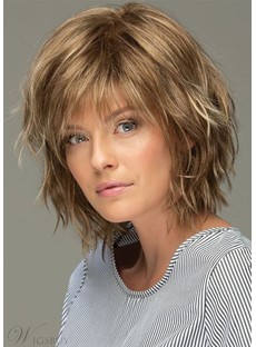Messy Look Women's Shoulder Length Style Features Choppy Layers Wavy Human Hair Wigs Capless Wigs 10Inch