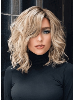 Women's Middle Length Side Part Tamed Open Waves Human Hair Capless Wigs 14Inch