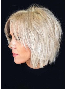Short Choppy Pixie Cut Hairstyles Women's Blonde Color Straight Human Hair Capless Wigs 10Inch