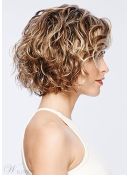 Short Curly Hairstyles Women's Blonde Color Capless Wigs 100% Human Hair Wigs 14Inch