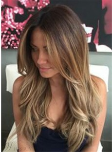 Sexy Long Wavy Layered Human Hair Women Capless Wig 22 Inches