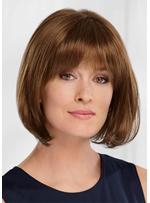 Women's Straight Bob Style Human Hair Wigs With Bangs Capless Wigs 10Inch