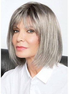 Women's Blonde Color Bob Style Straight Synthetic Hair Capless Wigs With Bangs 12Inch