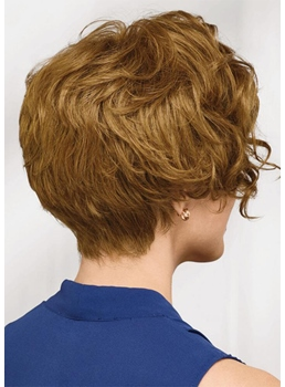 Natural Looking Women's Short Layered Wavy Human Hair Capless Wigs 10Inch