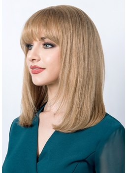 Women's Medium Bob Hairstyles Straight Human Hair Capless Wigs 16Inch
