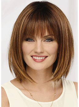 Short Bob Hairstyles Women's Straight Human Hair Wigs With Bangs Capless Wigs 12Inch