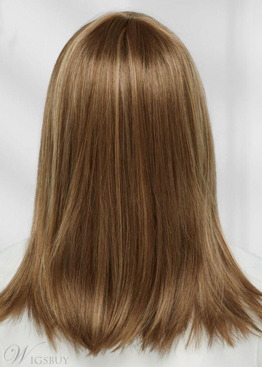 Sexy Women's Long Length Straight Human Hair Capless Wigs With Bangs 22Inch