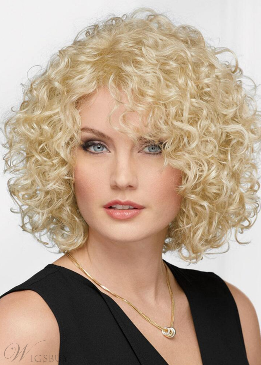 Afro Curly Women's Blonde Color Bob Style Curl Human Hair Capless Wigs 14Inch
