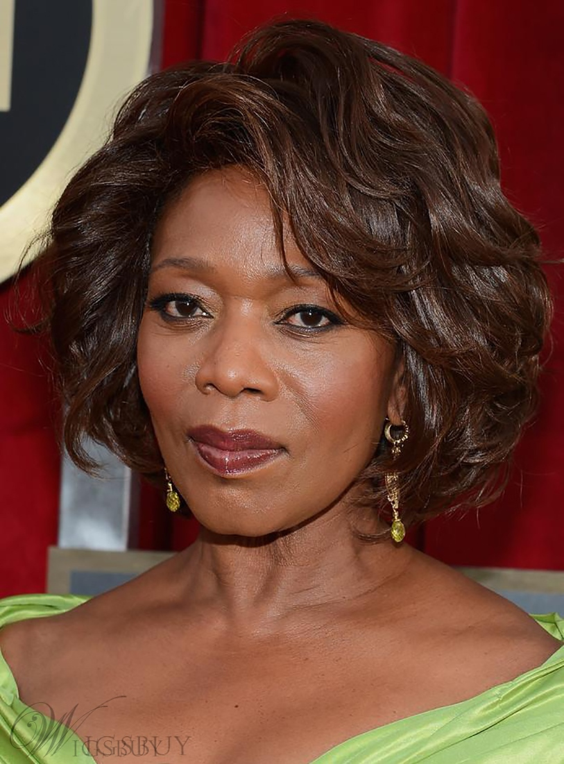 Alfre Woodard Short Wave Hairstyle Fluffy Natural Smooth Capless Wig 100% Real Human Hair 12 Inches