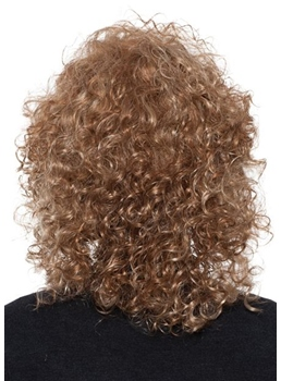 Afro Curly Women 's Medium Hairstyles Curly Synthetic Hair Capless Wigs 18Inch