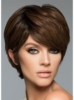 Full Head Women's Short Straight Layered Human Hair Capless Wigs 8Inch