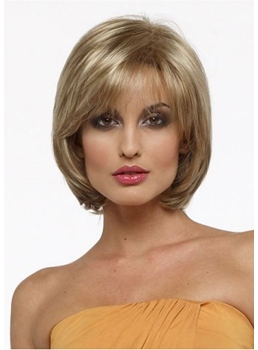 Women's Blonde Straight Bob Style Human Hair Wigs Capless Wigs With Bangs 10Inch