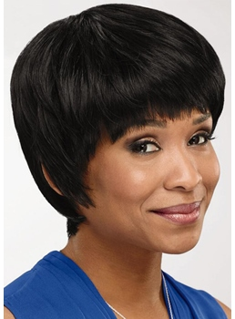 African American Women's Bob Style Straight Human Hair Capless Wigs 8Inch