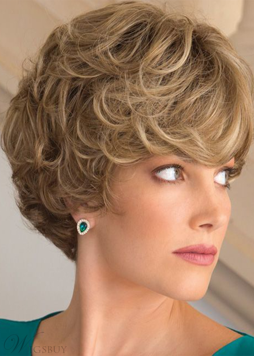 Women's Short Layered Hairstyles Natural Curly Synthetic Hair Capless Wigs 10Inch