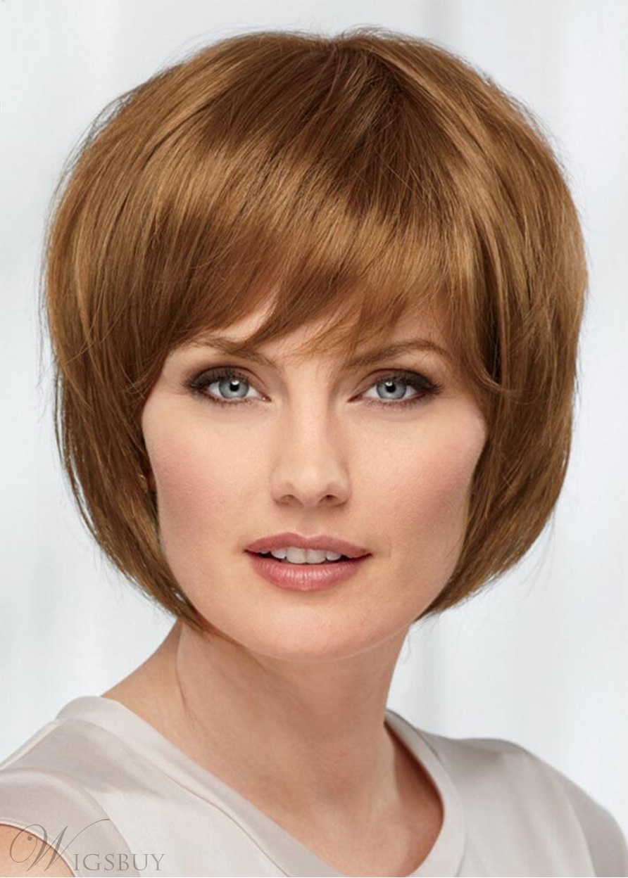 Bob Style Women's Blonde Straight Human Hair Capless Wigs With Bangs 10Inch