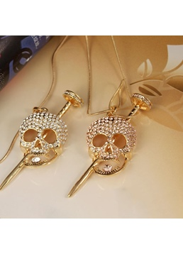 European Style Women's Titanium Steel Skull Pattern Pendant Necklace for Prom Holiday