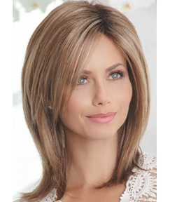 Medium Shaggy Hairstyles Women's Mid-Part Straight Human Hair Capless Wigs 16Inch