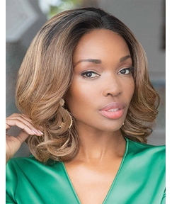 African American Women's Medium Length Wavy Human Hair Capless Wigs 14Inch