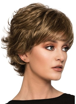 Women's Short Layered Choppy Style Wavy Human Hair Capless Wig 10Inch