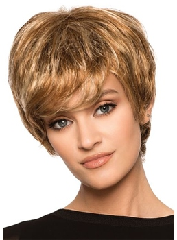 Women's Short Layered Hairstyles Choppy Straight Human Hair Capless Wigs 10Inch