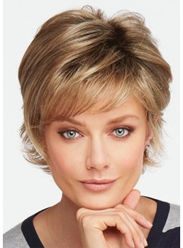 Short Layered Hairstyles Women's Choppy Wavy Human Hair Capless Wigs 10Inch