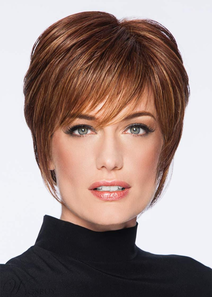 Short Layered Hairstyles Women's Natural Straight Human Hair Capless Wigs 10Inch
