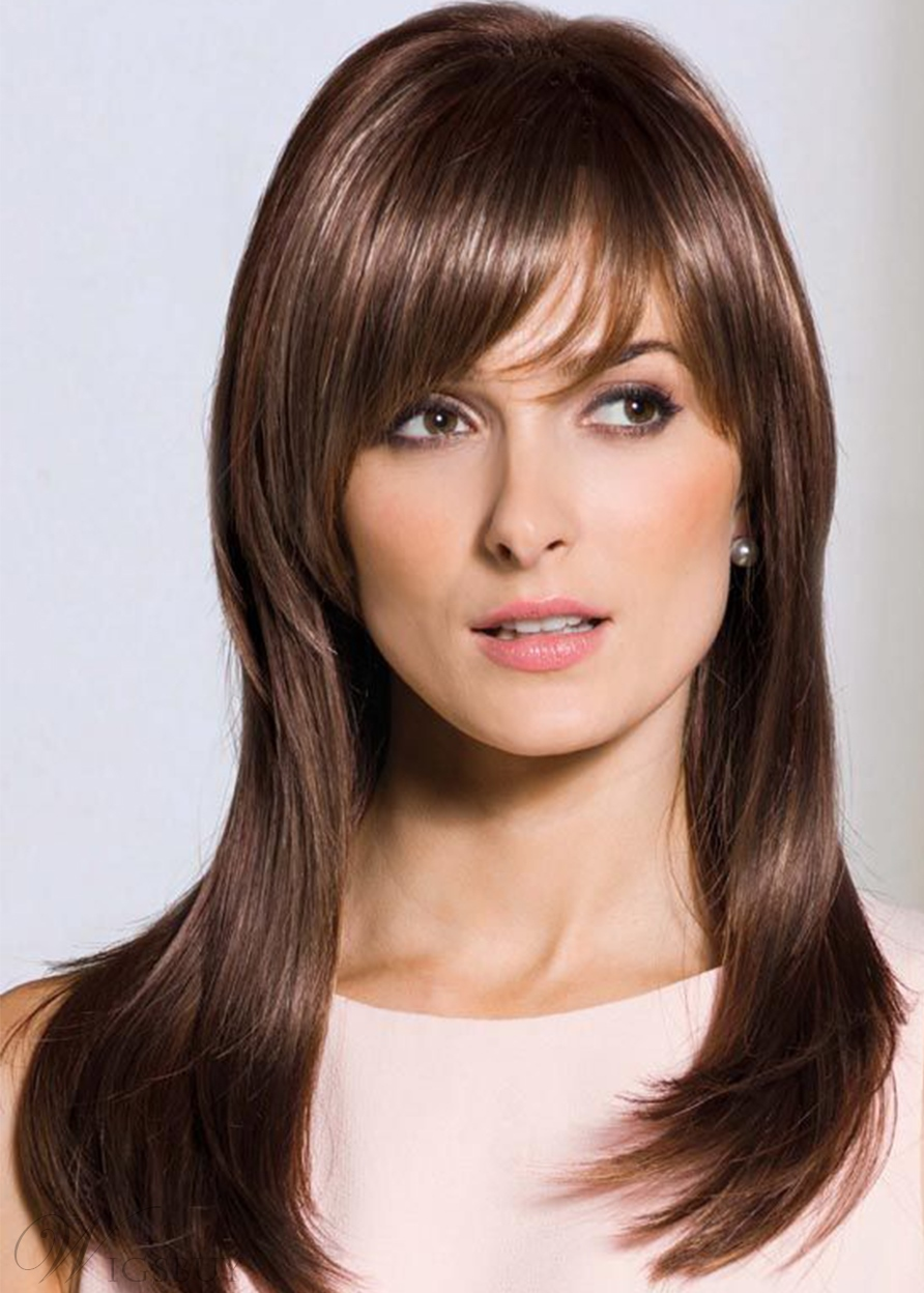 Sexy Women's Long Length Slik Straight Human Hair Wigs With Bangs Capless Wigs 22Inch