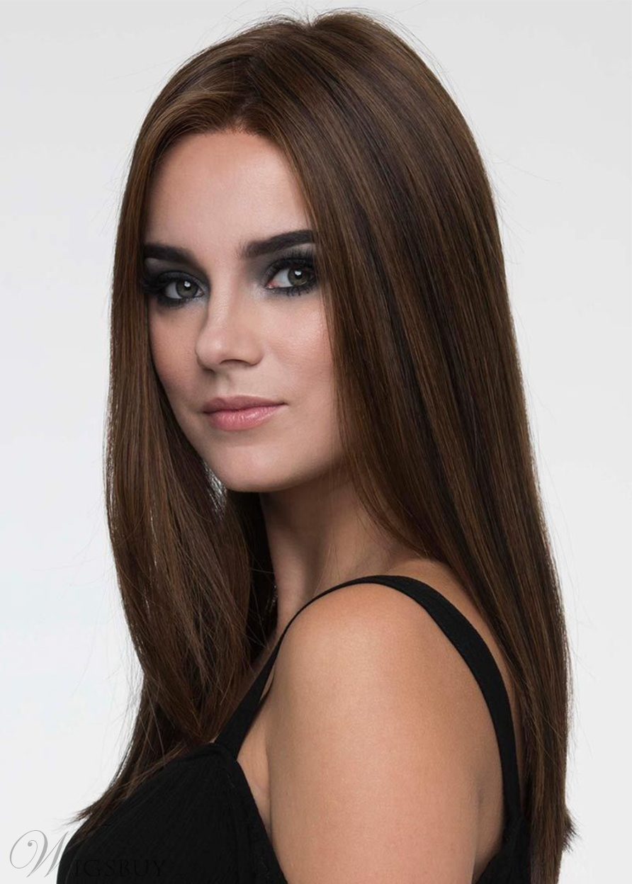 Natural Looking Women's Long Length Straight Human Hair Capless Wigs 24Inch