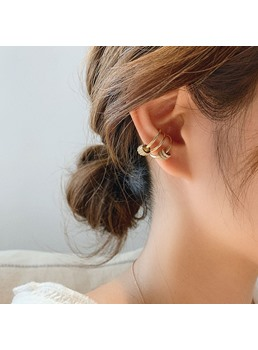 Korean Style Women's Geometric Pattern E-Plating Technic Ear Cuffs Earrings