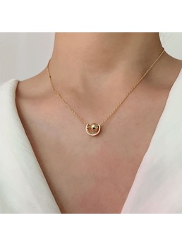 Adult Women's Korean Style Geometric Pattern E-Plating Technic Pendant Necklace