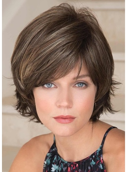 Short Shaggy Layered Straight Synthetic Hair Capless Wigs With Bangs 8Inch