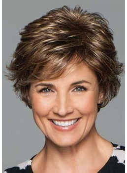 Short Layered Hairstyles Women's Natural Wavy Synthetic Hair Capless Wigs 8Inch