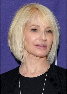 Short Bob Hairstyles Women's Blonde Color Synthetic Hair Capless Wigs With Bangs 8Inch