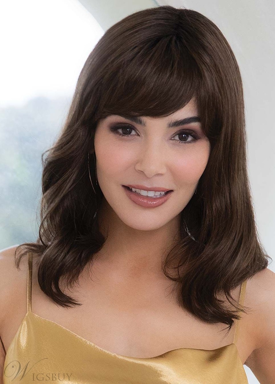 Medium Length Wavy Style Women's Synthetic Hair Capless Wigs 16Inch