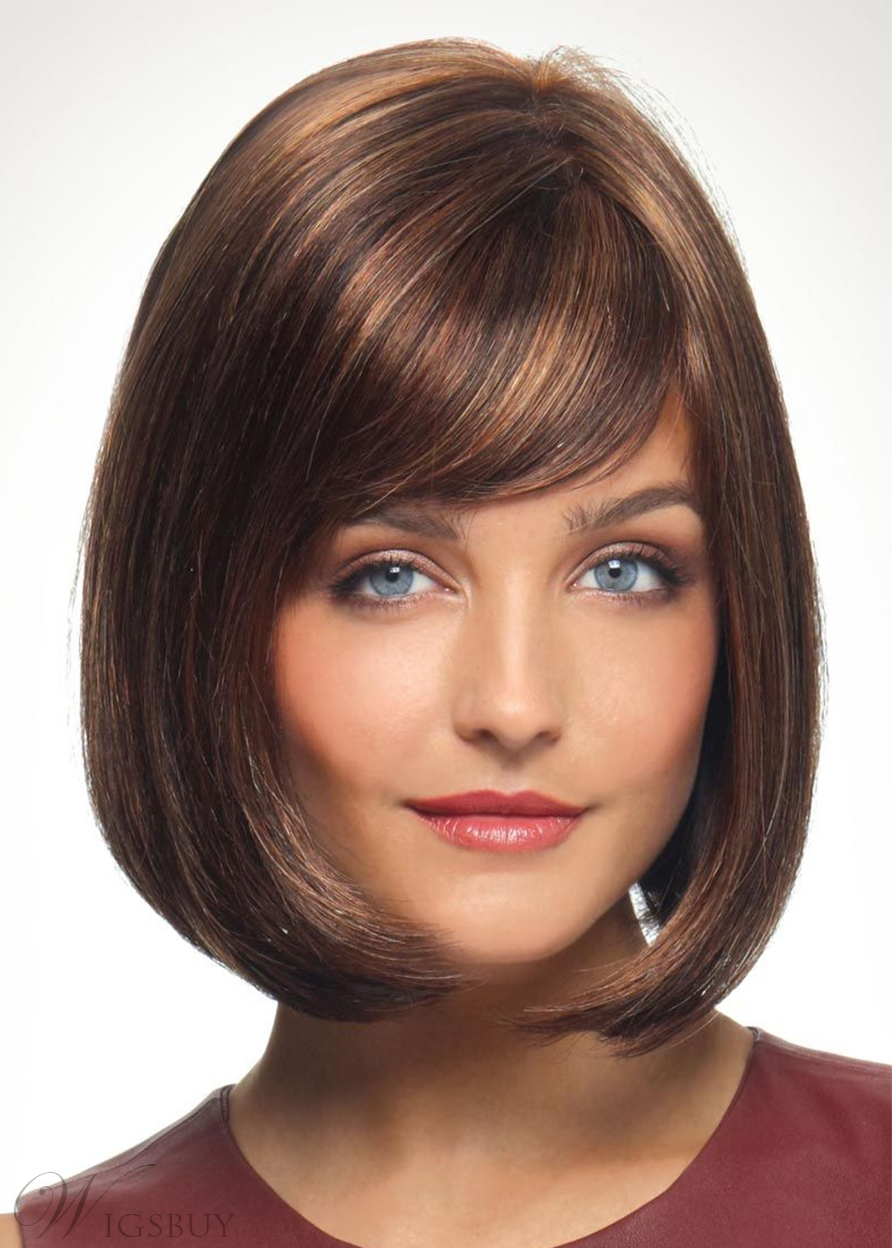 Short Bob Style Slik Straight Synthetic Hair Wigs Capless Wigs With Bangs 10Inch