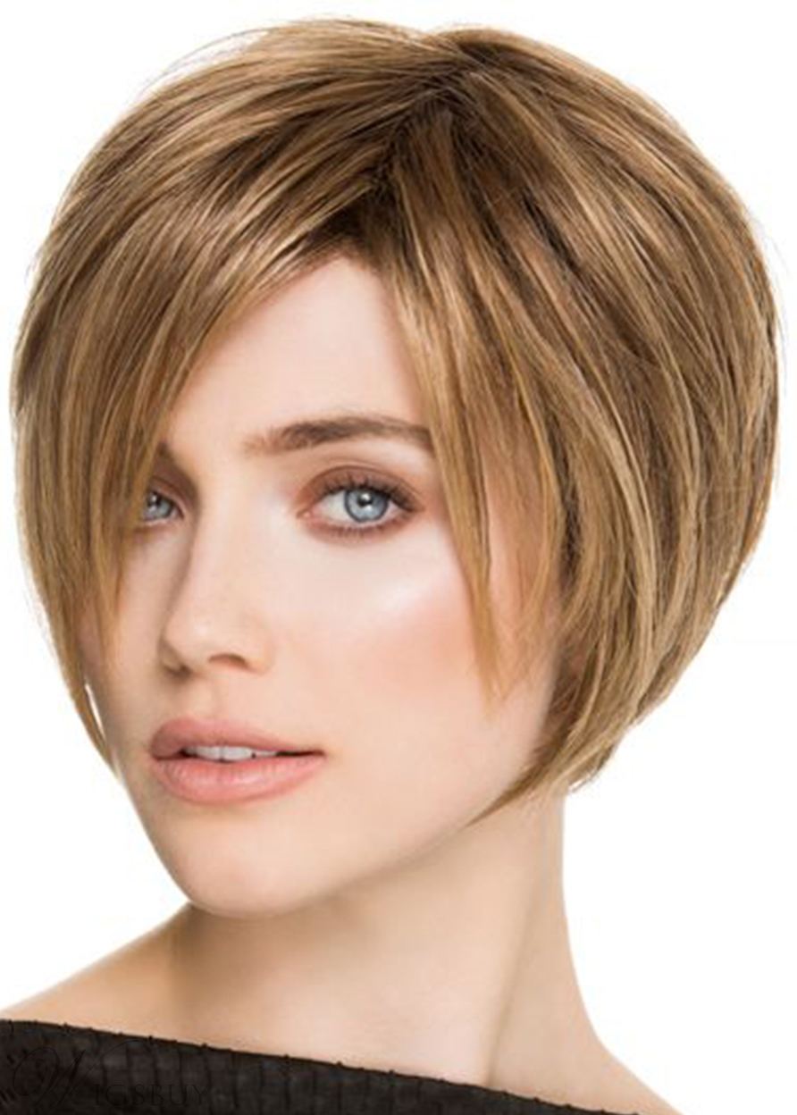 Short Boy Cut Straight Shaggy Style Synthetic Hair Capless Wigs 8Inch