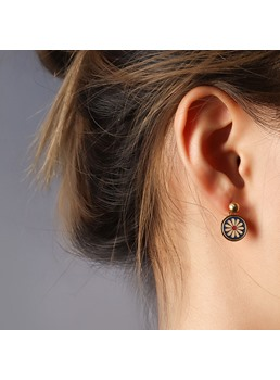 European Style Women/Ladies Floral Style Tianium Steel E-Plating Technic Drop Earrings For Prom/Party/Birthday/Gift