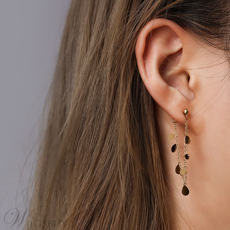Women/Ladies European Style Leaf Pattern Titanium Steel E-Plating Technic Drop Earrings For Prom/Party/Birthday/Gift