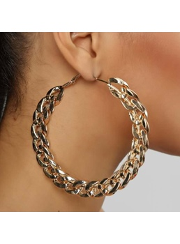 European Style Women/Ladies Plain Pattern Alloy E-Plating Hoop Earrings