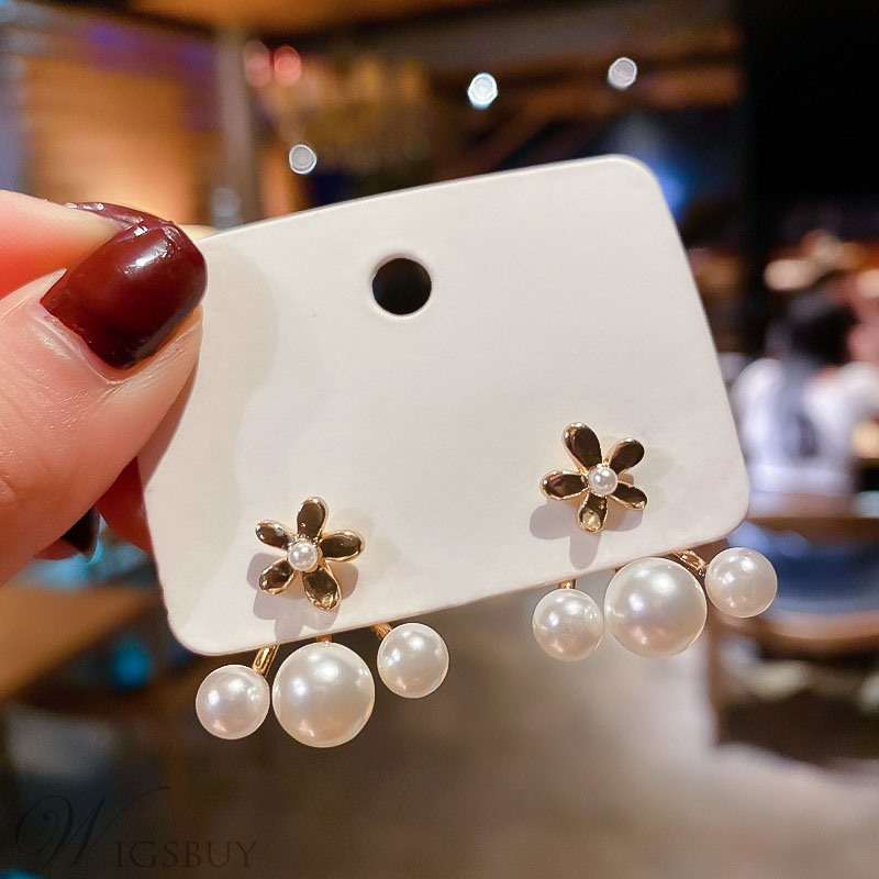 Women/Ladies Floral Pattern Pearl Inlaid Technic Alloy Material Drop Earrings For Gifts