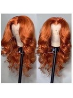 Ombre Wigs Ginger Color Middle T Part Lace Body Wave Human Hair Wigs 24Inch