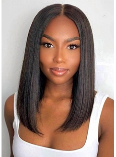 T Part Straight Hair Short Bob Wig Human Hair Lace Front Wigs 14Inch