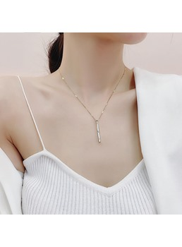 Korean Style Women's Plain Pattern Titanium Steel Pendant Necklace