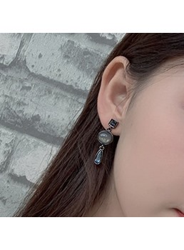 Women's Korean Style Geometric Pattern Gemmed Technic Agate Drop Earrings