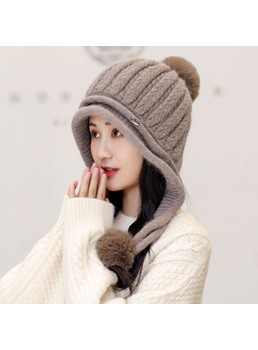 Women's Plain Pattern Brimless Woolen Yarn Tall Crown Knitted Hats