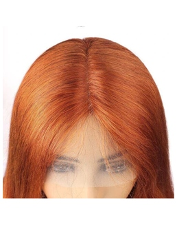 Ombre Wigs Ginger Color Middle T Part Lace Straight Human Hair Wigs 28Inch