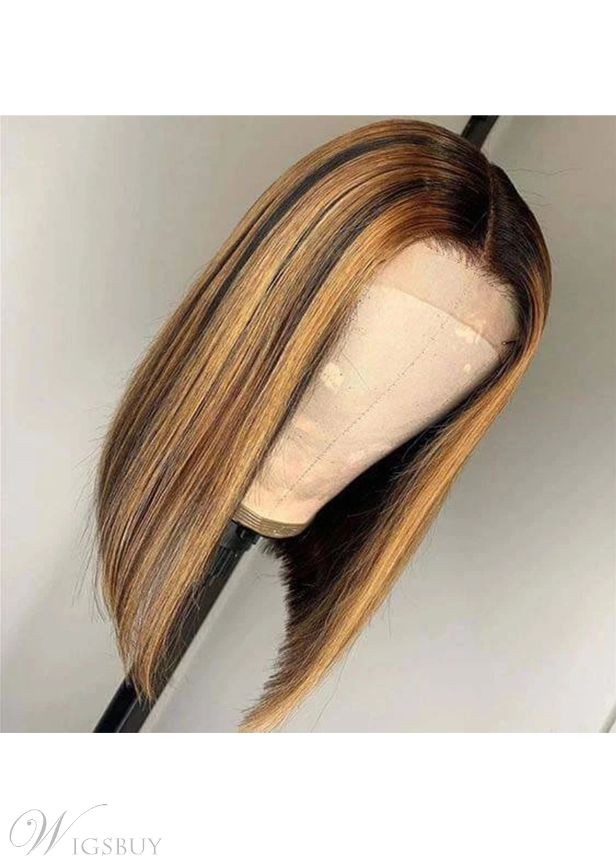 Highlight Straight Hair Middle Part Lace Front Bob Wig 12 Inch
